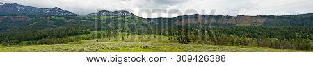 Prairie And Mountains Of Wyoming Usa Panoramic View