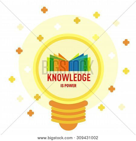 Flat Icon Of Knowledge In Light Bulb Shape. Book Logo In Light Bulb: Knowledge Is Power. Modern Desi