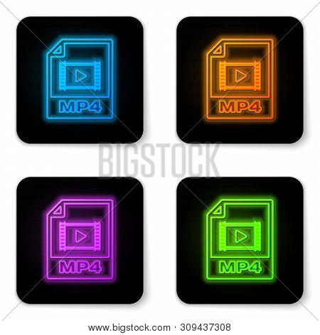 Glowing Neon Mp4 File Document Icon. Download Mp4 Button Icon Isolated On White Background. Mp4 File
