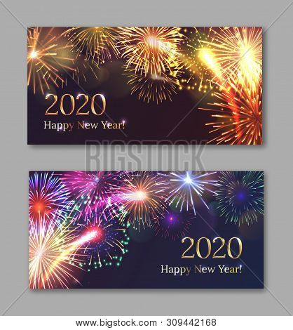 New Year Festival Party Invitation Templates With Bright Fireworks Series. Celebratory Template With