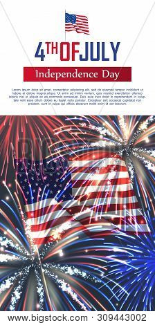Fourth Of July Happy Independence Day Vertical Banner. Celebration Flyer With Usa Flag And Realistic