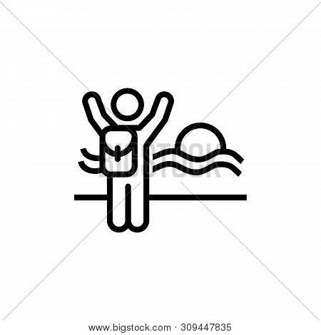 Solo Traveller Line Icon. Summer Resort, Seaside, Vacation. Solo Travel Concept. Vector Illustration
