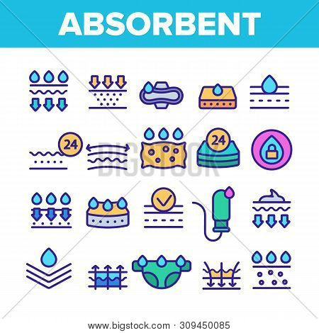 Absorbent, Absorbing Materials Vector Thin Line Icons Set. Absorbents For Moisture Control. Absorbin