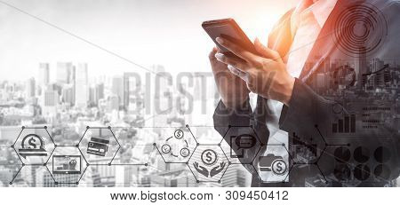 Business People Using Online Banking On Application In Mobile Phone Device Connected To Internet. Co
