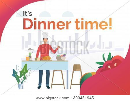 Chef Cooking Dinner In Kitchen And Showing Thumb Up. Meal, Restaurant, Dinner Concept. Poster Or Lan