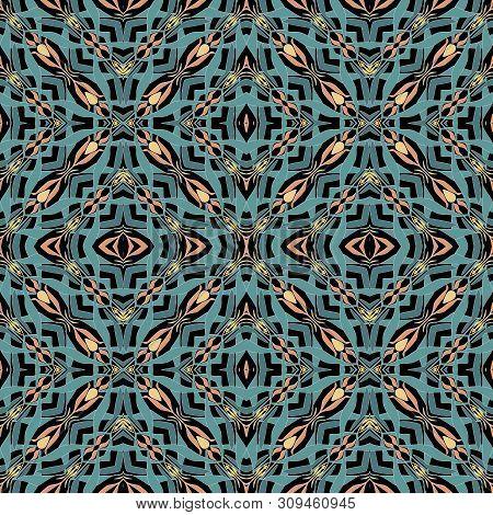 Kaleidoscope Seamless Ornamental Decor Pattern Abstract Shapes Background