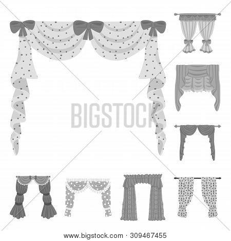 Vector Illustration Of Interior And Cornice Symbol. Collection Of Interior And Drapes Stock Symbol F