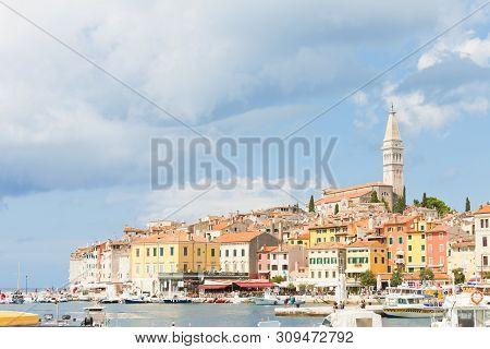 Rovinj, Croatia, Europe - September 2, 2017 - Boats At The Harbour Of Rovinj