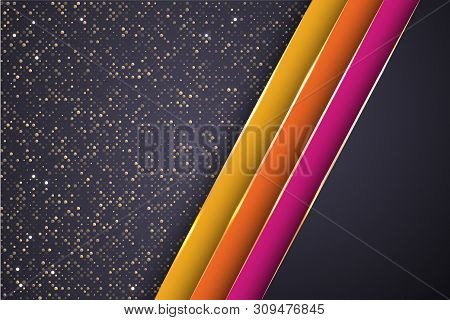 Gold Halftone Dots And Inclined Ribbon Stripes Banner Vector Design. Glossy Banner Background Templa