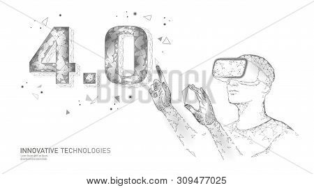 Low Poly Future Industrial Revolution Concept. Industry 4.0 Number Assembled Vr Helmet Glasses. Onli