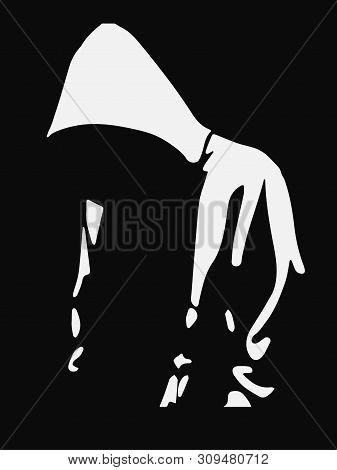 Urban Style. Hooded Man. Man Silhouette. Underground Street Art.vector Design Isolated On Black Back