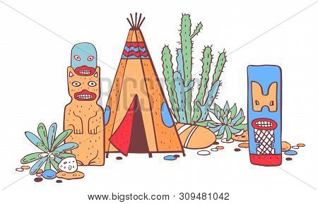 Native American Traditional Settlements. Tipi, Totem Poles And Cactuses. Color Vector Hand Drawn Out