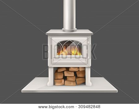 House Fireplace With Painted In White, Metallic Or Marble Stone Firepit And Chimney Pipe, Closed Doo