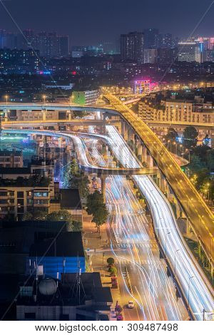 Chengdu, Sichuan Province, China - June 3, 2019 : Busy Car Traffic On Chengwenlijiao Interchange Aer