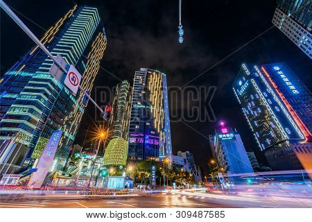 Chengdu, Sichuan Province, China - June 6, 2019 : Taishengnanlu Street View At Night In The Center O