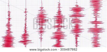 Seismogram Earthquake Graph. Oscilloscope Waves, Seismograms Waveform And Seismic Activity Graphs. D