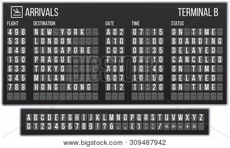 Scoreboard Flip Font. Arrival Airport Signs Board, Railroad Arrivals And Departures Scoreboards Lett