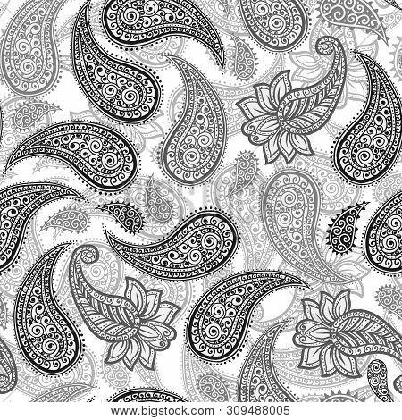 Black And Grey Magical Traditional Paisleys Seamless Pattern For Wallpaper Design Or Fabric Textile