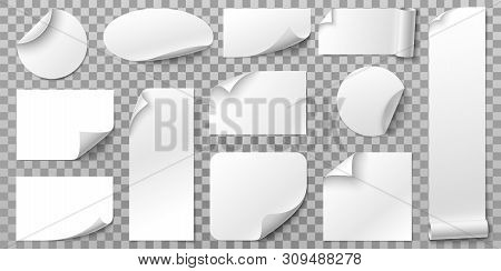 White Paper Stickers. Label Sticker With Curled Corners, Curve Papers Edge And Blank Tag. Book Or Ma