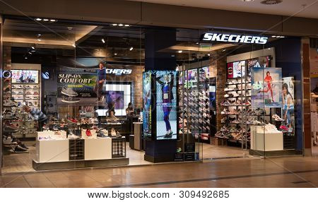 Gyor Hungary 05 07 2019 A Skechers Shop In The Arkad Of Gyor