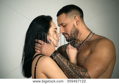 Dissolve Into Each Other. Sensual Couple Kiss. Couple In Love. Romantic Kiss And Love. Intimate Rela