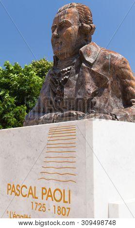 Ajaccio, France - July 6, 2015: Pascal Paoli Statue. Ajaccio City, Corsica Island