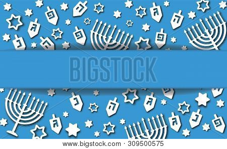 Hanukkah Blue Background With Holiday Candles, Dreidels, Hebrew Letters And David Stars. Modern Pape