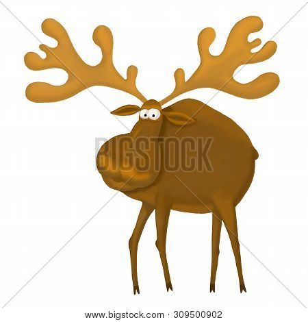 Cute Cartoon Moose Or Eurasian Elk With Big Horns, Isolated On A White Background. Vector Illustrati