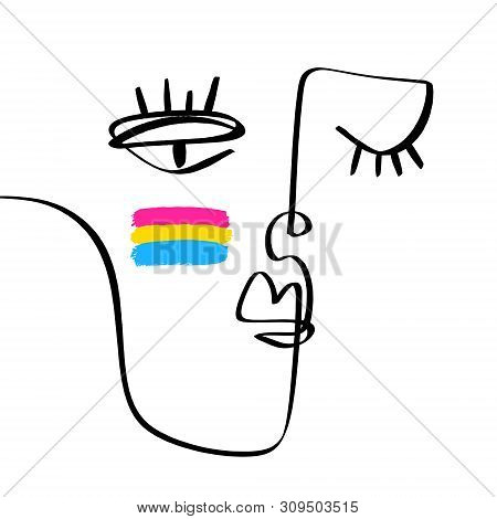 Hand Drawing Face Line Art In Cubism Style With Pansexual Lgbt. Stylish Print For Clothes, Textile A
