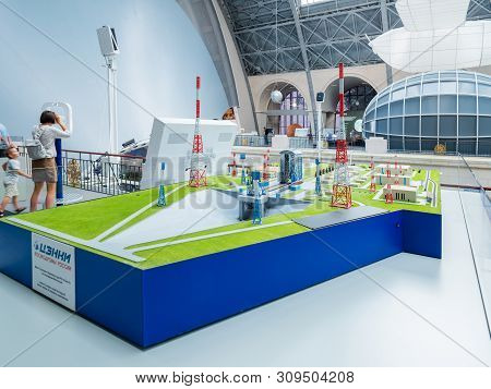 Moscow, Russia - June 08, 2019. Launch Complex Model For Soyuz-2 Launch Vehicle At Vostochny Cosmodr