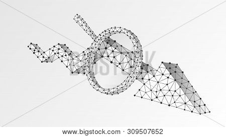 Magnifying Glass On Downtrend Arrow. Market Crisis Analysis, Infographic Reserch Concept. Abstract,
