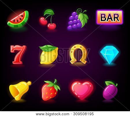 Colorful Slots Icon Set For Casino Slot Machine, Gambling Games
