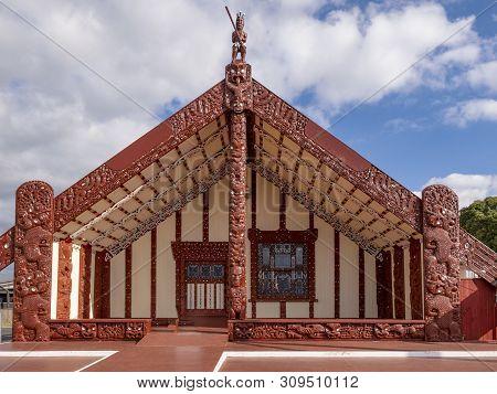 Wharenui Or Maori Meeting House, Tamatekapua Marae, Ohinemutu, Te Arawa Tribe, Rotorua