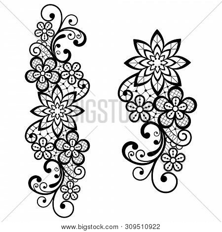 Retro Lace Vector Single Pattern In Black, Ornamental Design With Flowers And Swirls, Detailed Lace