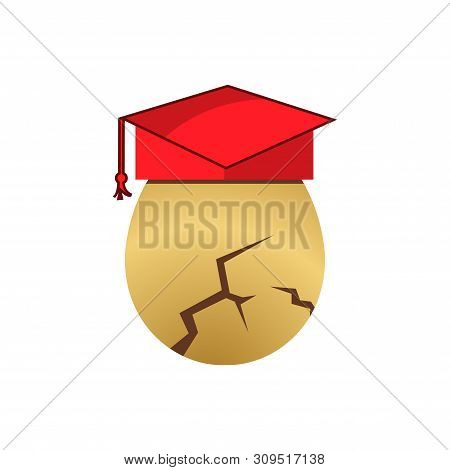 Egg Wear Graduation Hat Stock Icon. Vector Illustration On White Background