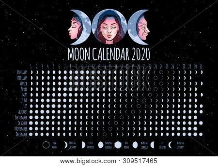Moon Calendar, 2020 Year, Lunar Phases, Cycles. Design Illustrated With Triple Goddess Symbol: Maide