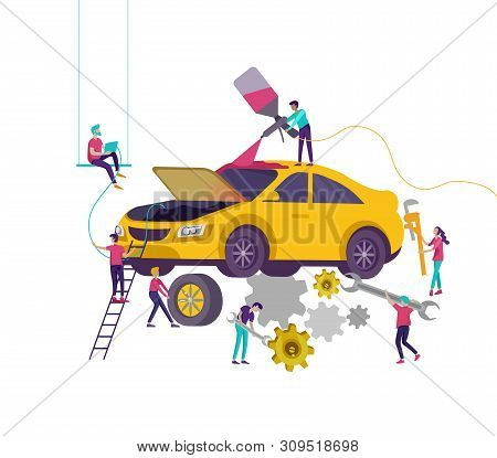 Car Service Having Their Repaired, Cartoon People Characters Paint Car, Change Wheels, Automobile Re