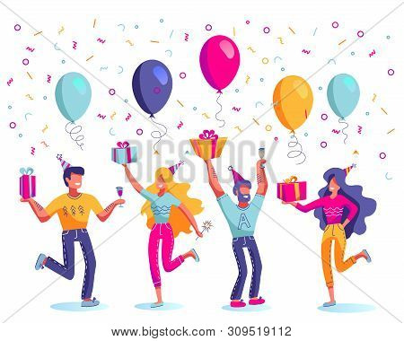 Happy Birthday, Men And Women In Festive Hats Vector. Gift Boxes Or Presents, Balloons, Champagne An