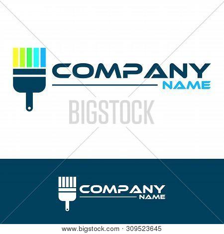 Bright Color - Vector Logo Concept Illustration. Brush Paint Logo Sign. Art Logo Sign. Rainbow Paint