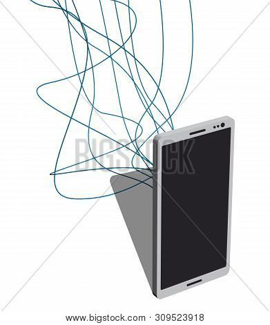 Phone With Lots Of Wires Connected To It. Vector Illustration