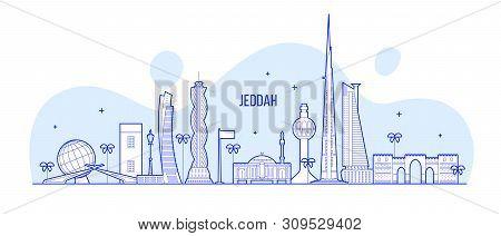 Jeddah Skyline Saudi Arabia City Vector Linear Art