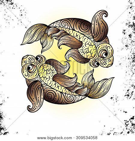 Beautiful Line Art Filigree Zodiac S Sign On Vintage Background. Elegant Jewelry Tattoo.for Printing