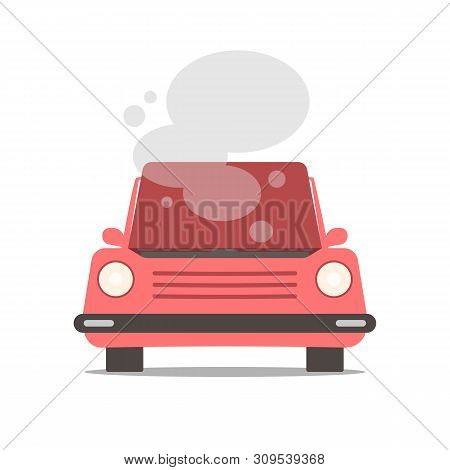 Broken Car With Open Hood Covered With Steam And Smoke. Vector Flat Cartoon Illustration Isolated On