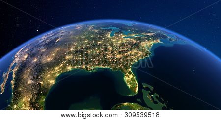 Planet Earth With Detailed Exaggerated Relief At Night Lit By The Lights Of Cities. North America. U