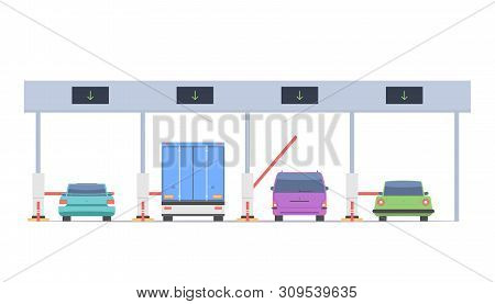 Cars Pass Through The Checkpoint With Barriers On The Toll Road. Vector Illustration Isolated On Whi