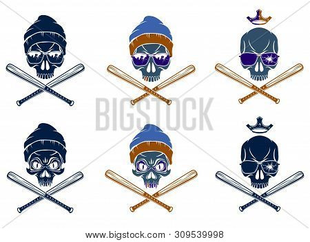 Gangster Emblem Logo Or Tattoo With Aggressive Skull And Baseball Bats, Vector Set, Criminal Ghetto