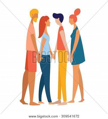 Women And Men Polyamorist Heterosexual Straight Holding Hands Together.