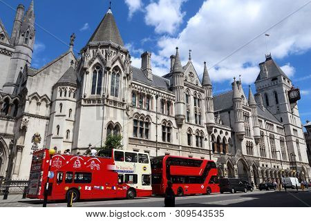 London, Uk - July 6, 2016: People Ride Double Decker Buses At The Strand, London, Uk. Transport For