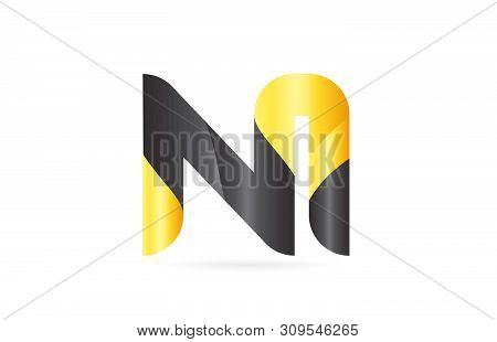 Joined Or Connected Ni N I Yellow Black Alphabet Letter Logo Combination Suitable As An Icon Design