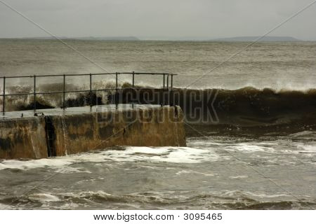 Large Wave At Balintore Pier